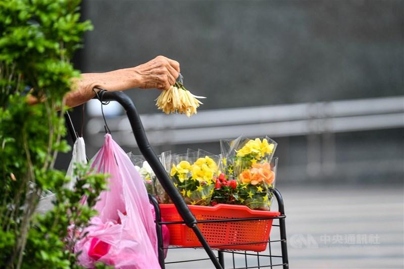 行政院啟動紓困4.0,自營作業者或無一定雇主的勞工生活補貼4日起入帳,未領過者7日起可於線上申辦。圖為台北街頭一位賣玉蘭花的老人。(中央社檔案照片)