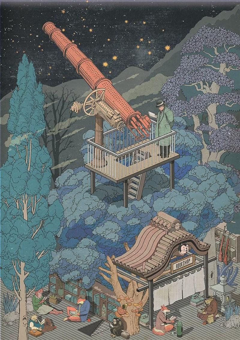 藝術家鄒駿昇以系列插畫作品「看不見的書店」獲得美國插畫大獎及3x3國際當代插畫大獎肯定。(鄒駿昇提供)中央社記者邱祖胤傳真 110年6月7日