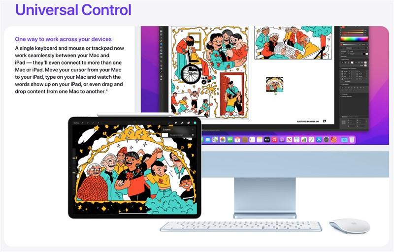 MacOS新軟體可支援「一手掌控」(universal control)功能,使用者透過滑鼠或鍵盤,就能同時控制iMac桌機、MacBook手提電腦和iPad平板電腦。(圖取自蘋果公司網頁apple.com)