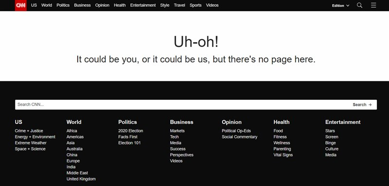 多家國際媒體網站8日停擺,包括美國的有線電視新聞網(CNN)。(圖取自CNN網頁cnn.com)