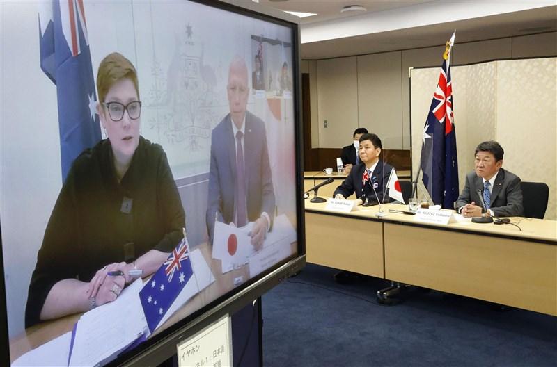 日本與澳洲政府9日以視訊方式舉行外交及防衛部長級的「2加2會談」。(共同社)