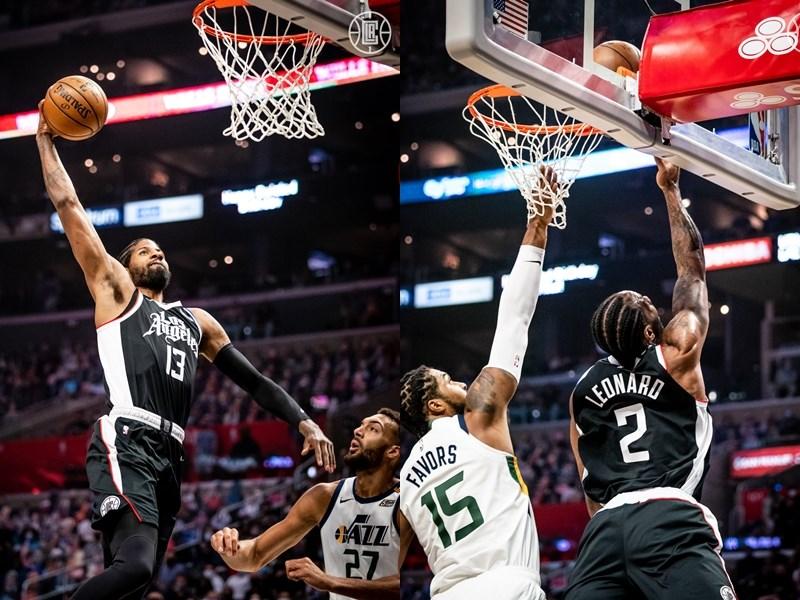美國職籃NBA洛杉磯快艇球員喬治(左)和雷納德(右)12日分別挹注31分和34分,率隊以132比106勝出。(圖取自facebook.com/LAClippers)