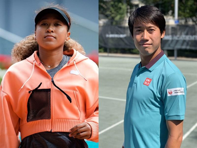 日本網球選手大坂直美(左)、錦織圭(右)獲得今年東京奧運網球單打出賽資格。(左至右圖取自twitter.com/naomiosaka、twitter.com/keinishikori)