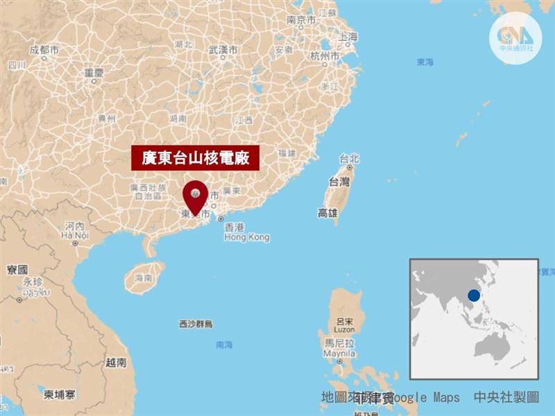 中國廣東台山核電廠傳出氣體外洩,原能會15日表示,未來一週放射性物質不致影響台灣;目前台山廠周遭亦無輻射異常情形。(中央社製圖)