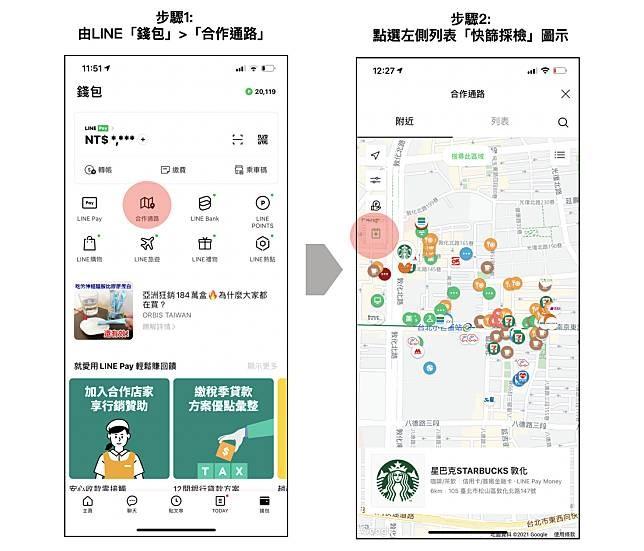 行動支付服務LINE Pay宣布新增「快篩採檢地圖」服務,用戶可以透過3步驟快速查找鄰近的快篩站。(圖取自LINE Pay網頁event-web.line.me)