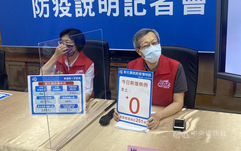彰化縣16日首度零確診,縣長王惠美(左)與衛生局長葉彥伯(右)認為疫情雖獲控制,病毒威脅仍在,依舊不可掉以輕心。中央社記者吳哲豪彰化攝 110年6月16日