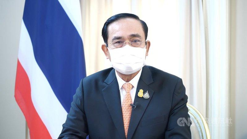泰國總理帕拉育16日透過電視演講宣布泰國將在120天內全面開放國境,他並舉台灣和新加坡為例,說明自己生產疫苗的重要性。(泰國總理府提供)中央社記者呂欣憓曼谷傳真 110年6月16日