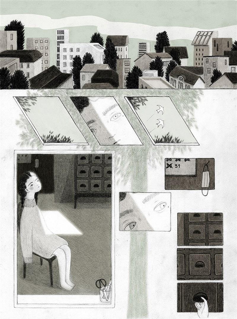 旅居英國的台灣藝術家卓霈欣創作「樹冠羞避」,以石墨媒材創作,連環圖像作品串起一首無言的詩歌,16日贏得義大利波隆那SM國際插畫家大獎殊榮。(卓霈欣提供)中央社記者邱祖胤台北傳真 110年6月17日