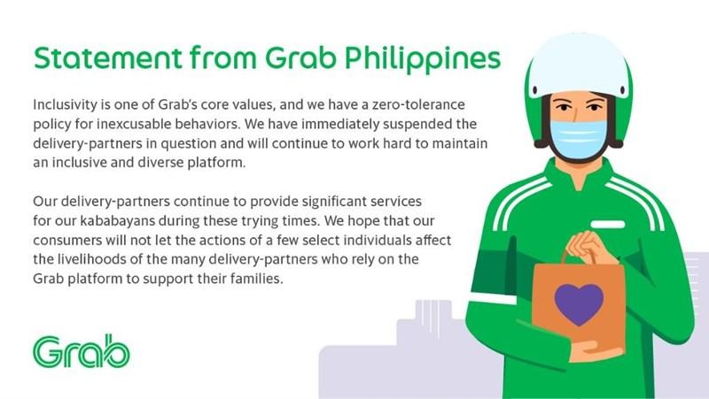 麥當勞在菲律賓推出韓國天團BTS套餐,卻有多名外送員發文時以貶低男同志字眼指涉BTS惹怒歌迷。外送平台Grab趕緊宣布將涉事者暫時停權。(圖取自twitter.com/grabph)