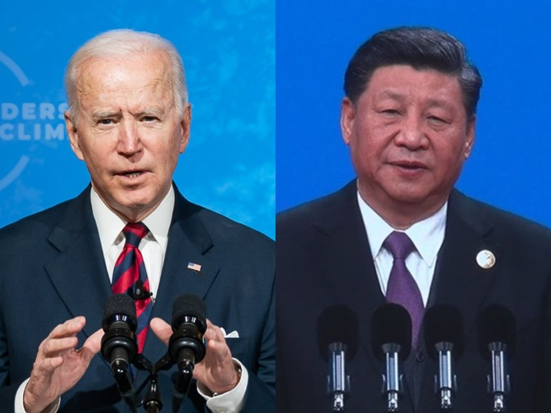 美國國家安全顧問蘇利文17日表示,白宮將考慮安排總統拜登(左)與中國國家主席習近平(右)對談。(左圖取自facebook.com/WhiteHouse,右圖為中央社檔案照片)