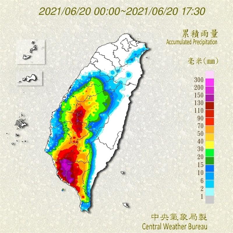 氣象局統計,20日截至下午5時,累積雨量以高雄大樹區211毫米最多。(圖取自氣象局網頁cwb.gov.tw)