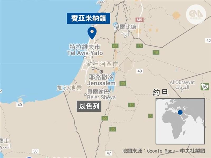 以色列賓亞米納鎮爆發COVID-19疫情,逾千人被隔離。(中央社製圖)