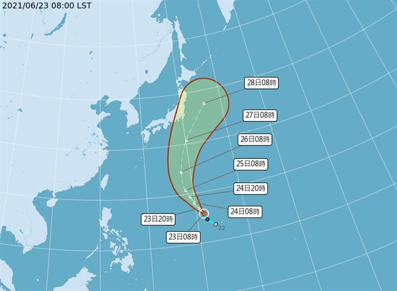 輕度颱風薔琵23日上午8時形成,預測朝北北西方向移動。(圖取自中央氣象局網頁cwb.gov.tw)