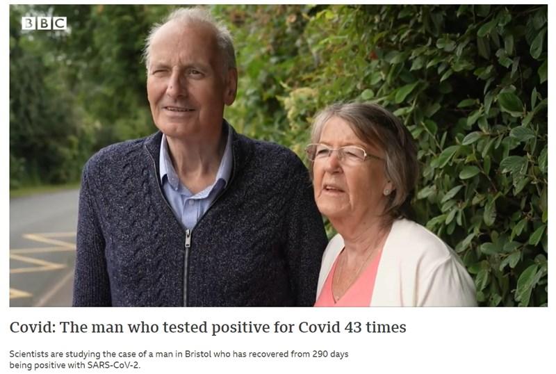 現年72歲的史密斯(左)染COVID-19長達10個月,在接受雞尾酒療法45天後,檢測終於呈陰性。(圖取自BBC網頁bbc.com)