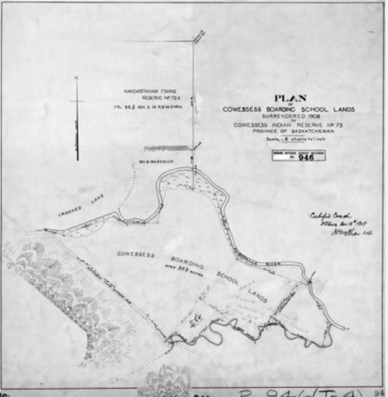 加拿大原住民團體發現一座寄宿學校遺址裡,居然有數以百計的無名塚。圖為該寄宿學校附近區域的地圖。(路透社)
