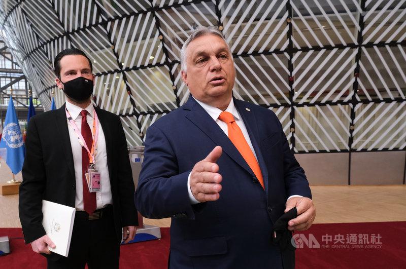 匈牙利總理奧班(Viktor Orban)(右)6月24日出席歐盟峰會。(圖/歐洲理事會)中央社記者唐佩君布魯塞爾傳真 110年6月27日