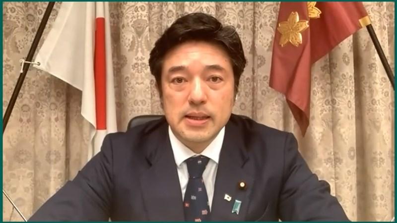 日本防衛副大臣中山泰秀28日表示,有必要對北京向台灣的施壓「覺醒」,保護台灣這個「民主國家」。(圖取自Hudson Institute YouTube網頁youtube.com)