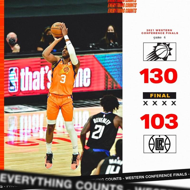 打NBA第16季的後衛保羅(橘衣者)30日狂飆41分,率相隔11年再度打進季後賽的太陽以130比103大勝快艇。(圖取自facebook.com/suns)