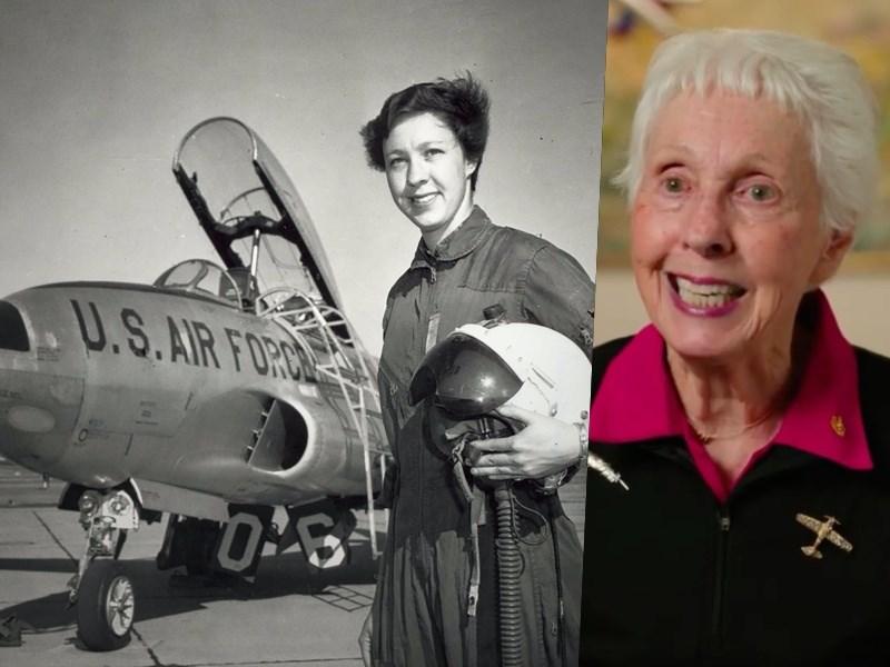 飛行員出身、現年82歲的美國老婦人馮克,本月將參與航太公司藍源公司的首次載人太空飛行。(左圖取自藍源公司網頁blueorigin.com,右圖取自instagram.com/jeffbezos)