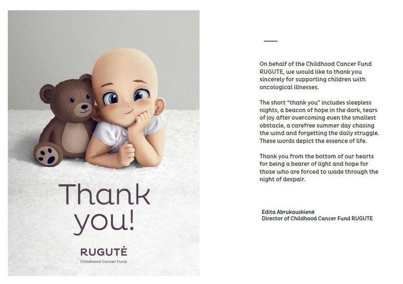 立陶宛政府近日宣布捐贈疫苗給台灣,當地非營利組織「兒童癌症基金」隨後湧入多筆台灣民眾捐款。基金會製作卡片感謝捐款給深陷絕望的人帶來一線光明與希望。(兒童癌症基金Rugutė提供)中央社記者陳韻聿傳真 110年7月4日