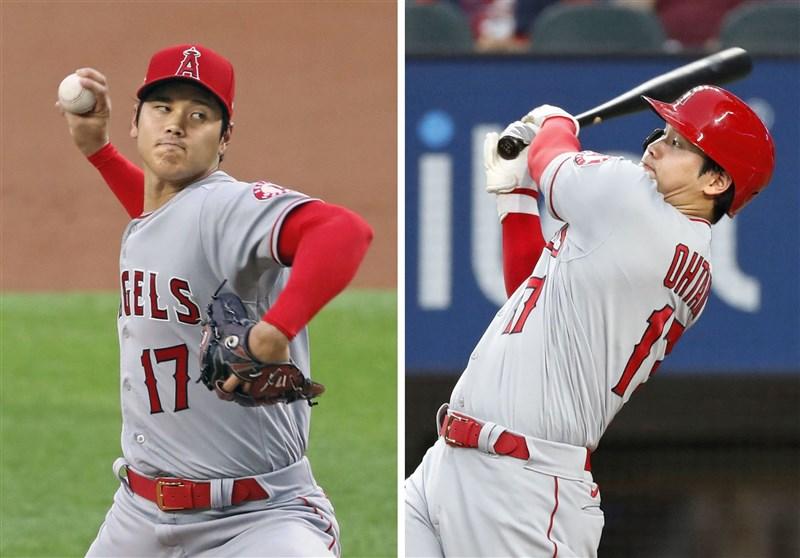 日籍好手大谷翔平4日成為美國職棒大聯盟MLB近百年歷史中,第一位同時以投手和打者「二刀流」身分入選明星賽的球員。(共同社)