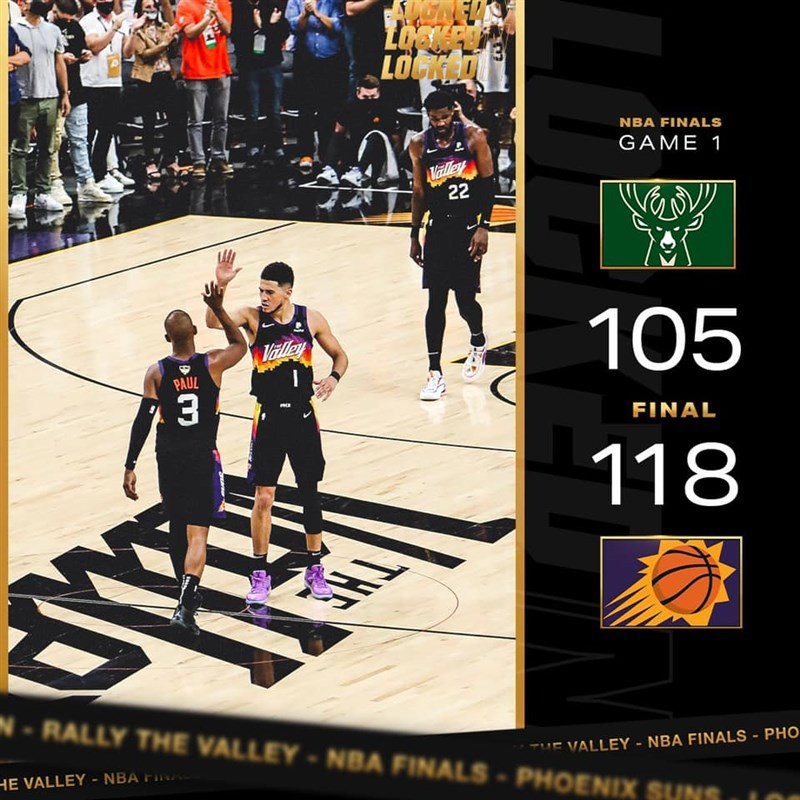 太陽6日在NBA總冠軍賽首役,靠保羅(左)32分、9助攻的帶領,以118比105擊敗公鹿。(圖取自facebook.com/suns)