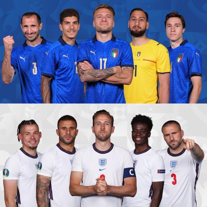 歐國盃義大利(上排)與英格蘭(下排)將與於台北時間12日凌晨3時在倫敦爭冠。(圖取自twitter.com/EURO2020)