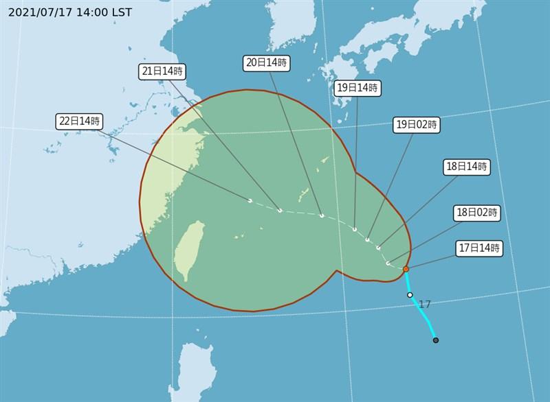 中央氣象局表示,第6號颱風烟花最快17日晚間到18日清晨形成,預計20日到22日會影響台灣天氣。(圖取自中央氣象局網頁cwb.gov.tw)