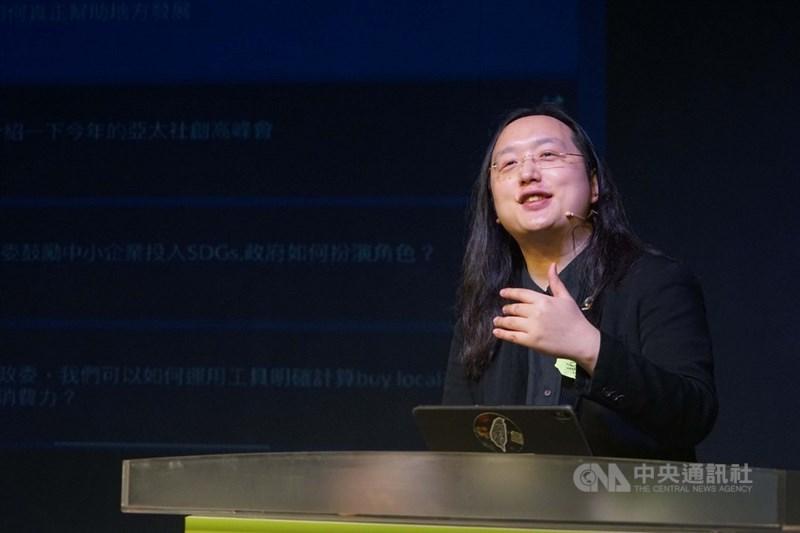 行政院政務委員唐鳳取消東京奧運行程。她表示,對選手的支持、對奧運的祝福以及對日本的感謝三件事情都沒有改變。(中央社檔案照片)