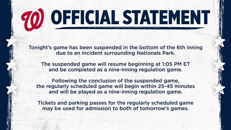 MLB華盛頓國民官方Twitter帳號推文說,華盛頓特區國民球場場外17日晚間驚傳槍響,球賽被迫暫停,賽事將於18日下午1時5分恢復。(圖取自twitter.com/nationals)