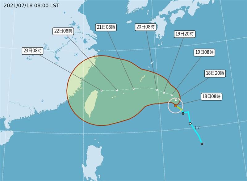 中央氣象局說,颱風烟花朝北轉西北方向移動,對台影響最顯著的時間是23、24日,各地都可能會有短暫陣雨。(圖取自中央氣象局網頁cwb.gov.tw)