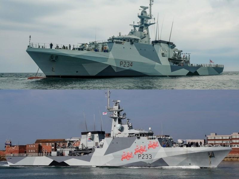 英國20日表示近岸巡邏鑑「史佩號」(上)與「塔馬號」(下)下個月將展開在本地區的常態性部署。(上圖取自twitter.com/HMS_Spey,下圖取自twitter.com/hms_tamar)