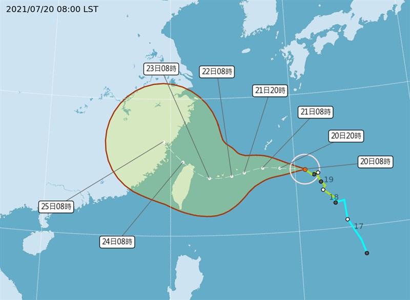 氣象局預估最快20日下半天烟花颱風就會增強為中度颱風。(圖取自中央氣象局網頁cwb.gov.tw)
