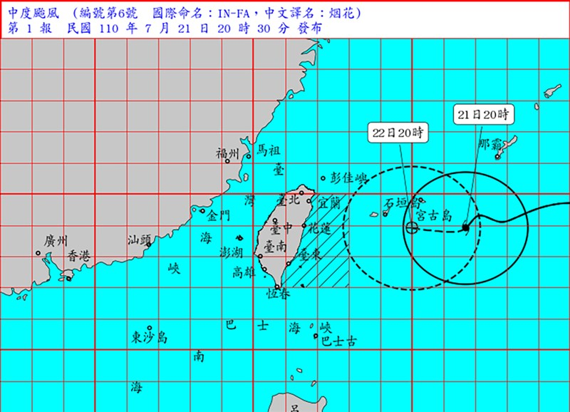 颱風烟花逼近,中央氣象局21日晚間8時30分發布海上颱風警報。(圖取自中央氣象局網頁cwb.gov.tw)