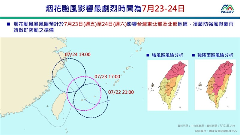 中央氣象局21日晚間8時30分針對颱風烟花發布海上颱風警報。(圖取自國家災害防救科技中心LINE帳號)