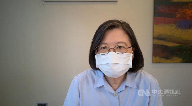 民進黨主席蔡英文21日指出,疫苗是科學問題,不是政治問題,安全有效的疫苗才會讓民眾施打,不安全不有效,就不會讓民眾施打。(民進黨提供)中央社記者葉素萍傳真 110年7月21日