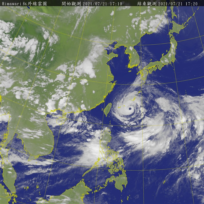 颱風烟花逼近,中央氣象局表示,預計21日晚間8時30分發布海上警報。(圖取自中央氣象局網頁cwb.gov.tw)