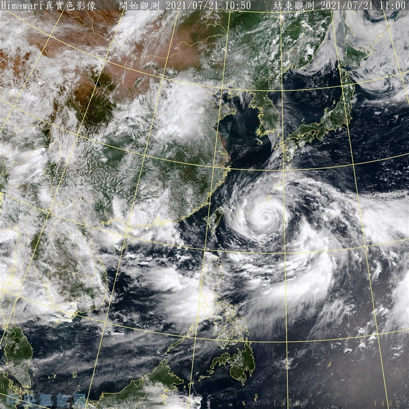 中央氣象局表示,颱風烟花移動緩慢,可能在21日晚間會發布海上警報、22日下午至晚間發布陸警。(圖取自氣象局網頁cwb.gov.tw)