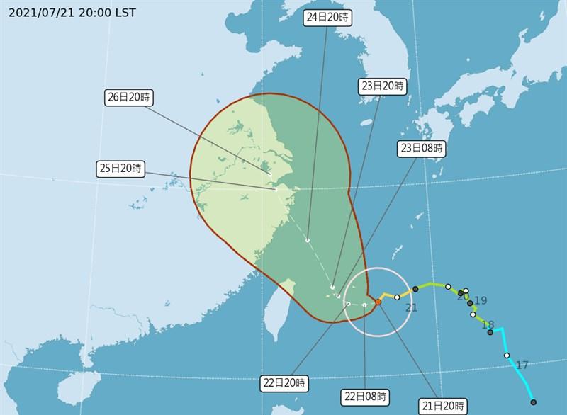 中央氣象局21日晚間8時30分針對颱風烟花發布海上颱風警報。(圖取自中央氣象局網頁cwb.gov.tw)