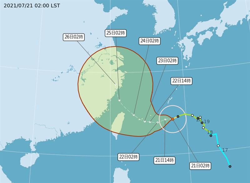 中央氣象局表示,21日隨著颱風逐漸接近,外圍環流的作用慢慢出現,北部及東北部地區會開始降雨,下半天及夜間較明顯。(圖取自氣象局網頁cwb.gov.tw)