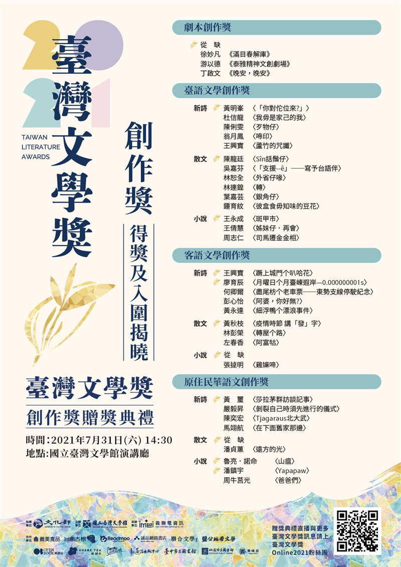 2021台灣文學獎「創作獎」22日揭曉,將在31日贈獎9名得獎者。(圖取自facebook.com/NmtlTainan)