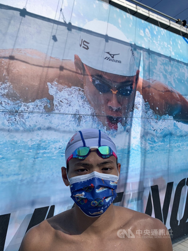 台灣泳將王星皓將參加東京奧運男子400、200公尺混合式兩項賽事,他22日進入比賽場地訓練,進行賽前最後衝刺,自認狀況不差,準備也差不多就緒。(王耀偉提供)中央社記者龍柏安傳真 110年7月22日