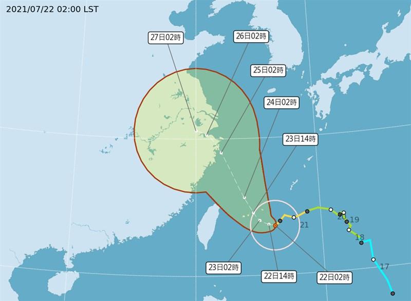 颱風烟花逼近,中央氣象局表示,烟花速度目前僅4公里,向西北西前進。(圖取自氣象局網頁cwb.gov.tw)