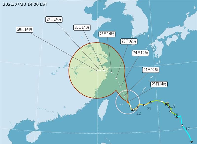 颱風烟花預計將於25日下午到26日凌晨在浙江舟山到玉環一帶沿海登陸。(圖取自中央氣象局網頁cwb.gov.tw)