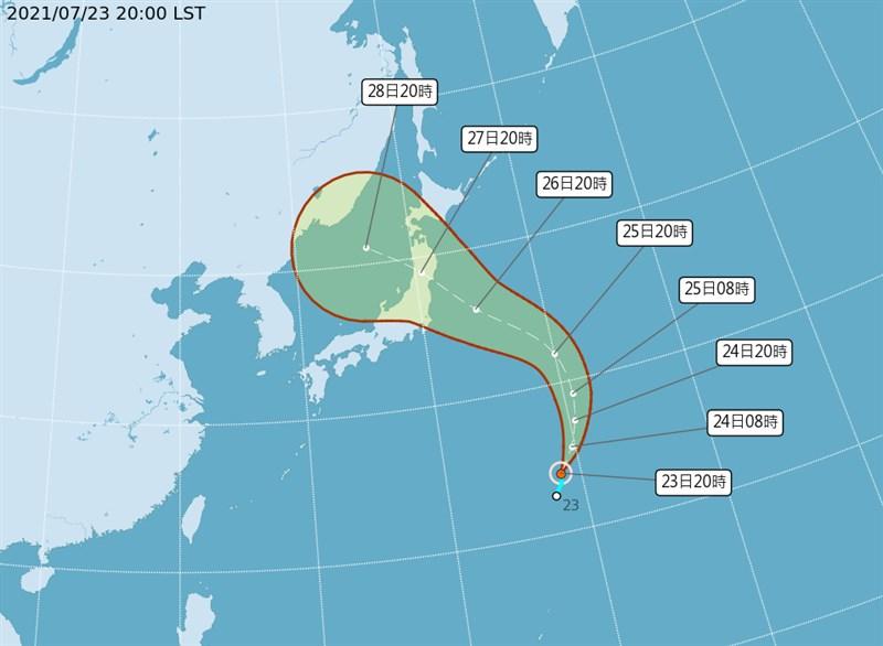颱風尼伯特預測可能會往日本前進。(圖取自中央氣象局網頁cwb.gov.tw)