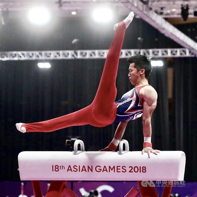 李智凱24日在東京奧運男子體操鞍馬資格賽以完美表現落地,排名第1晉級決賽。(中央社檔案照片)
