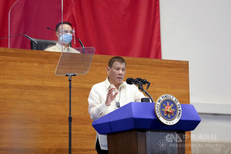 菲律賓總統杜特蒂26日將發表任內最後一次國情咨文。圖為杜特蒂於2020年7月27日發表上任以來第5次國情咨文。(菲律賓總統府通訊暨作業部提供)中央社記者陳妍君馬尼拉傳真 109年7月24日