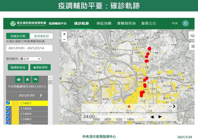 指揮中心指揮官陳時中宣布「疫調輔助平台」26日將上線,不僅可跨縣市掌握確診者足跡,還能分析找出可能潛在感染源及熱區趨勢。(指揮中心提供)