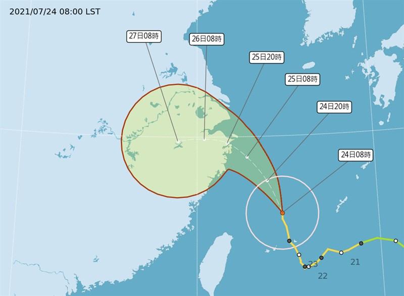 中央氣象局24日上午11時30分解除颱風烟花的海上颱風警報,但受到外圍環流影響,針對北台灣10縣市發出大雨及豪雨特報。(圖取自氣象局網頁cwb.gov.tw)