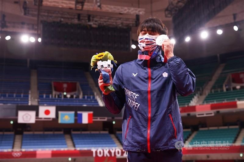 楊勇緯24日拿下台灣奧運柔道隊史上首面獎牌,為國爭光。中央社記者吳家昇攝 110年7月24日